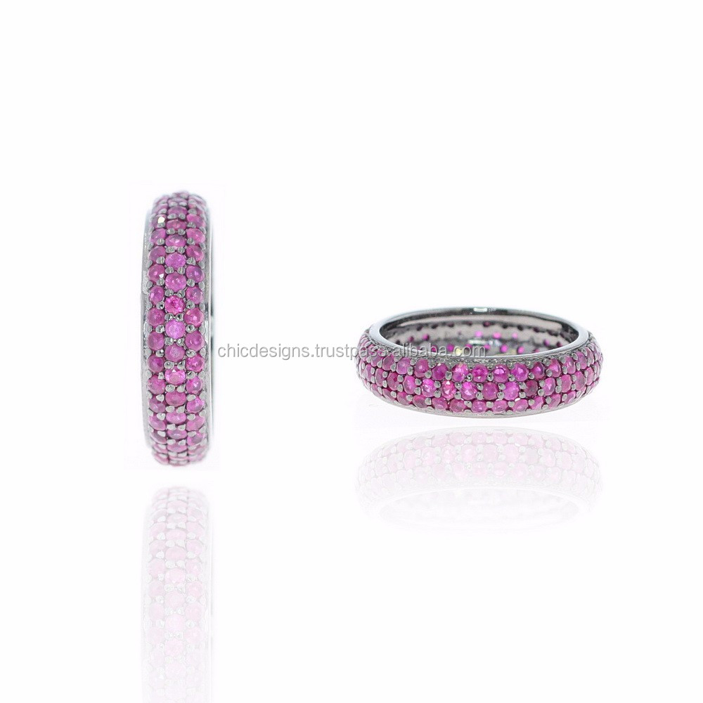 Ruby Gemstone Band Ring Jewelry 925 Sterling Silver Ring Single Cut Design Women's Fashion Ring Jewelry Wholesaler
