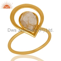 Golden Rutile Gemstone Handmade Ring Yellow Gold Plated Sterling Silver Rings Manufacturer of Handmade Jewelry