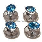 sterling silver 925 oval 4 blue topaz unisex cufflinks tuxedo button set gemstone
