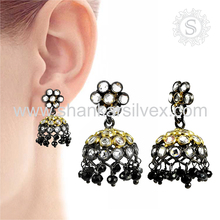 Personalized Fashion Jewelry 925 Silver Jewelry White CZ Jhumka Earring Supplier Indian Silver Jewelry