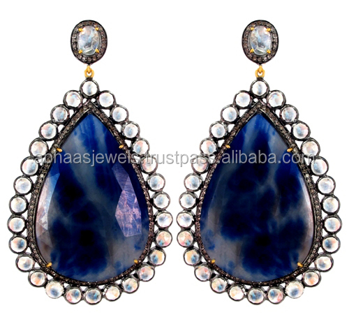 14k Gold Blue Sapphire Drop Earrings Silver Diamond Rainbow Moonstone Dangle Jewelry Wholesale Abhaas Jewels