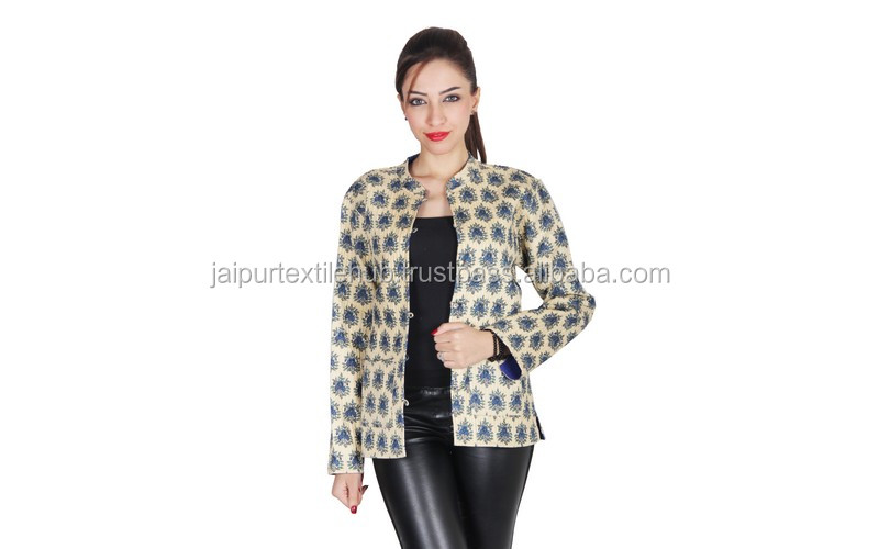 INDIAN NEW PRINTED COTTON KANTHA ETHNIC HANDMADE QUILT WOOL WOMEN JACKET COAT