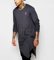 Extreme Longline Long Sleeve T-Shirt With Drape And Oil Wash