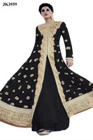 Justkartit Women's Black Colour Wedding Wear Anarkali Salwar Suit / Ankle Length Engagement wear salwar kameez / New Bollywood w