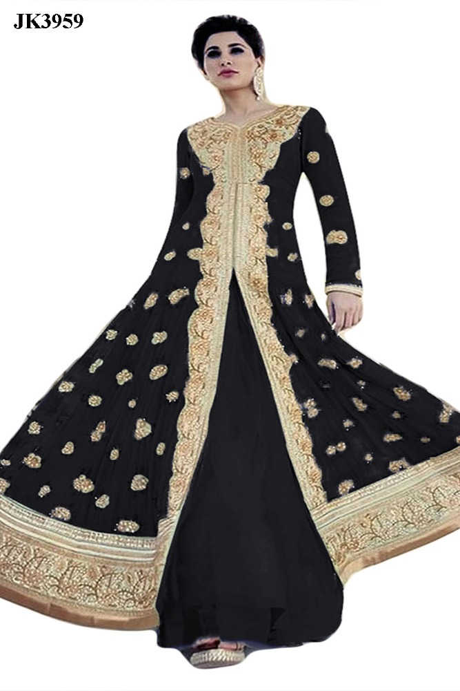 Women's Black Colour Wedding Wear Anarkali Salwar Suit / Ankle Length Engagement wear salwar kameez / New Bollywood w