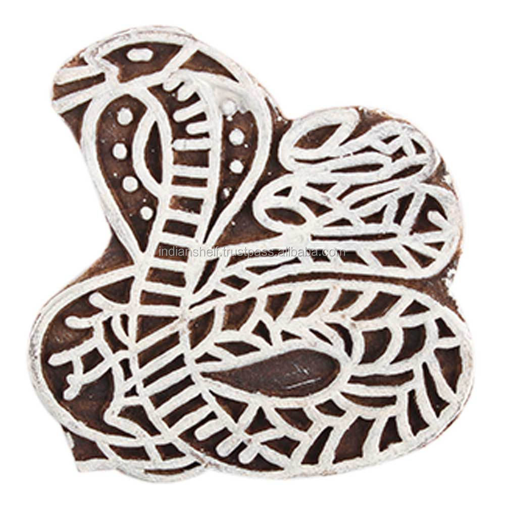 Snake Shape Vintage Wooden Canvas Printing Blocks Decorative Art Craft Wholesaler WB-2467