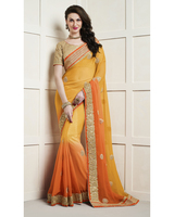 Triveni Astounding Yellow Colored Embroidered Chiffon Saree TSSAPT3110
