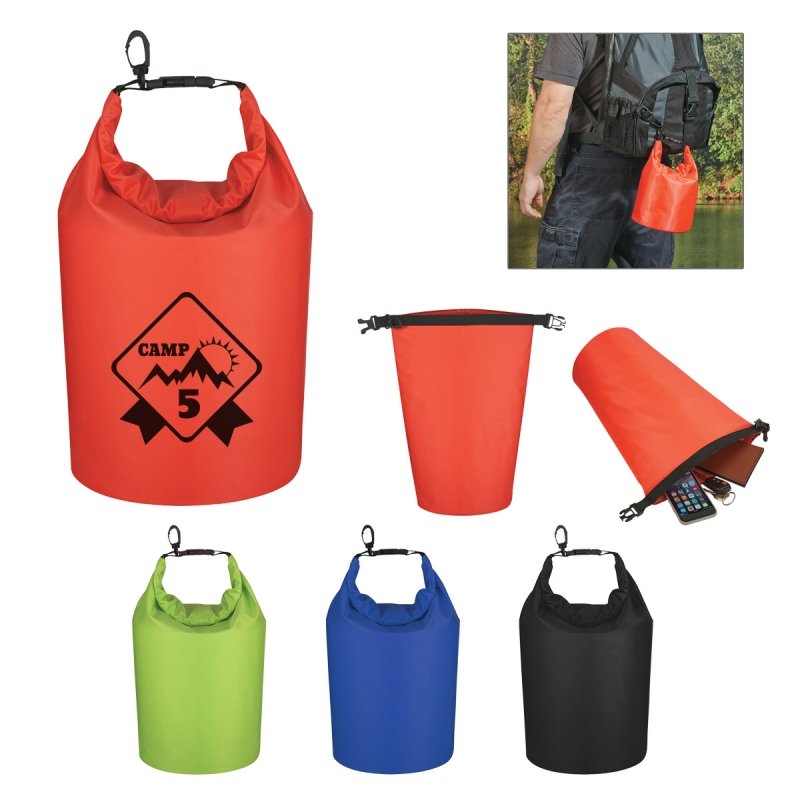 Waterproof Dry Bag - has roll top closure with clip, floats if dropped in the water and comes with your logo