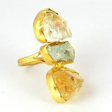 2016 Fashionable Gold Plated !! Citrine_Aquamarine 925 Sterling Silver Ring, Winter Silver Jewelry, Gold Plated Silver Jewelry