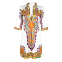 2016 Women Summer Dress Casual African Print Party Dresses Plus Size Deep V-Neck.