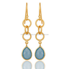New Pretty and Trendy Design Blue Chalcedony Hot Gemstone Earrings Micron Gold Plated