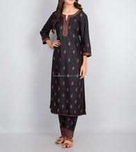 Black Tussar Cotton Zari Buti Embroidery Long Kurta For Girls