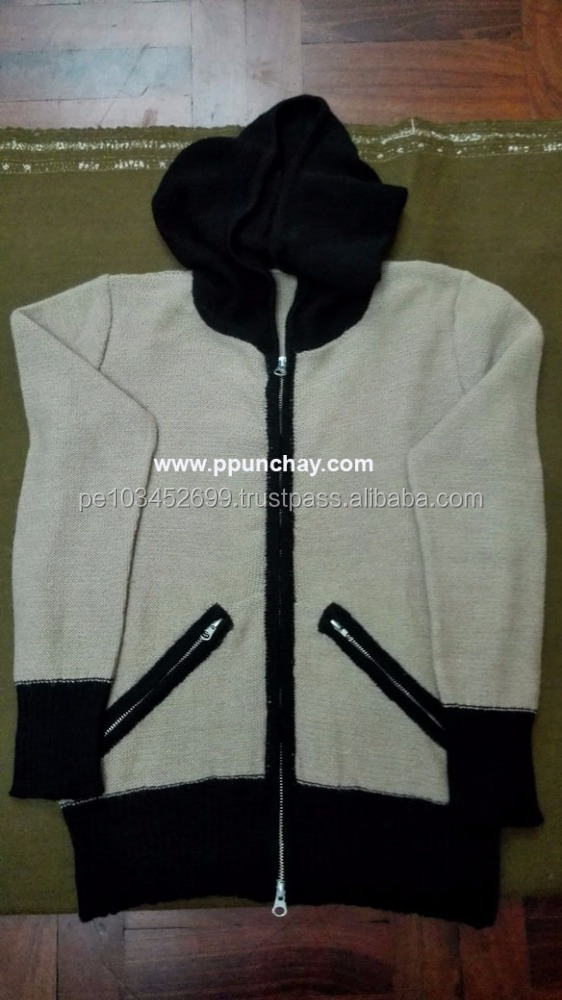 Baby Alpaca Hooded Sweater with Zipper Women Ppunchay Peru Luxurious Black and Beige colors