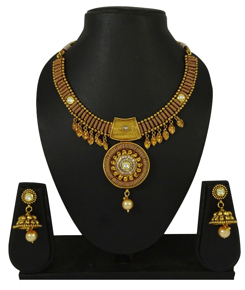 Traditional Indian Bollywood Goldtone 2 PC Necklace Set Women Wedding Jewelry IMSM-BNS64A