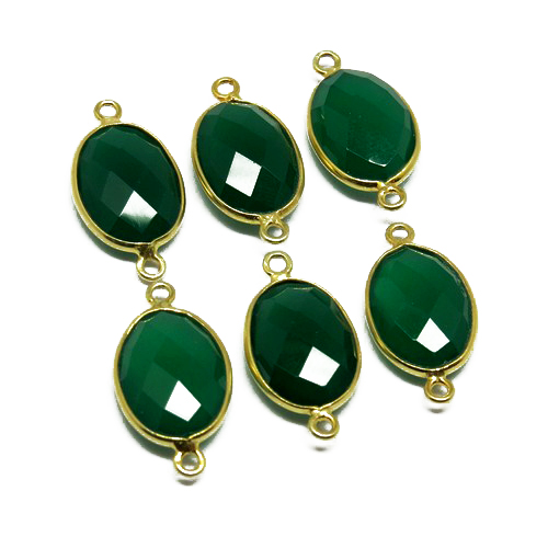 Amazing Gold Plated Green Onyx 925 Sterling Silver Bezel Gemstone Connector, Silver Jewellery, Handmade Gemstone Silver Jewelry