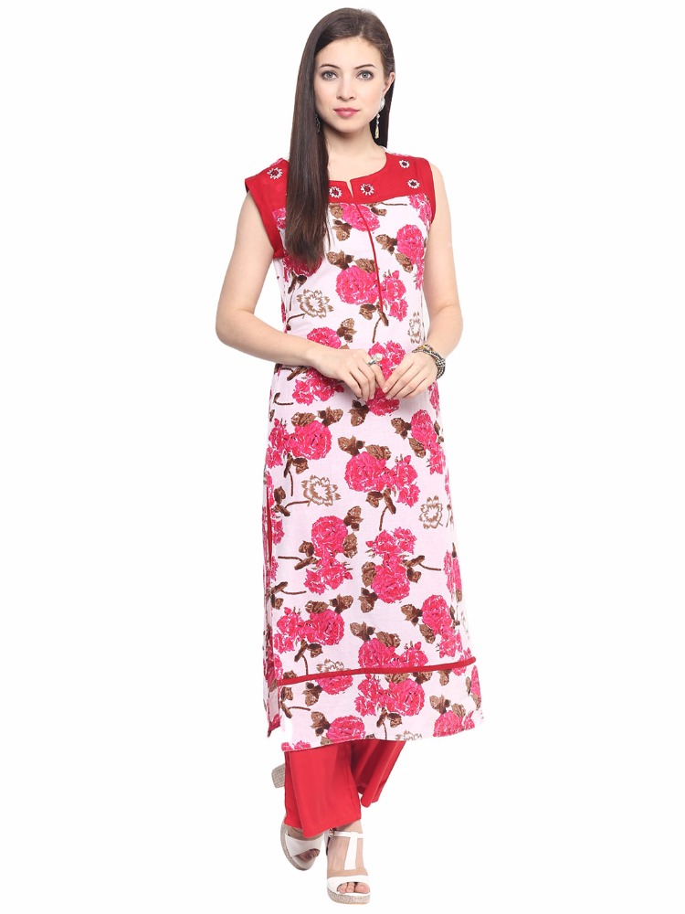 Jaipur Kurti White Cotton Embroidered Kurta