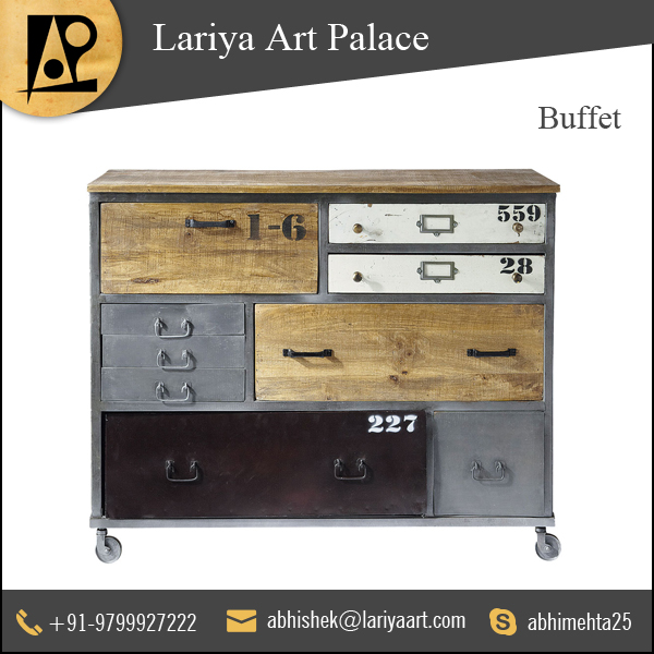 Modern Design 9 Drawer Buffet in Mango Wood & Iron