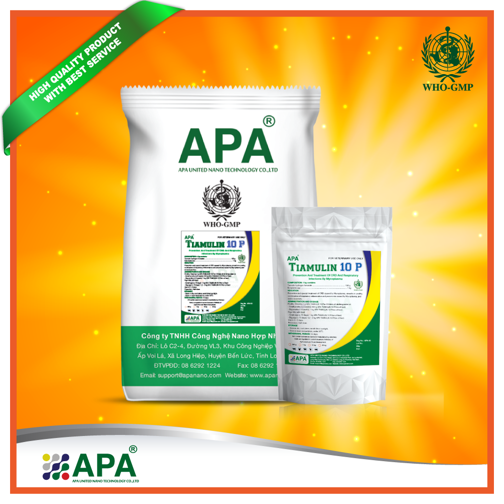 APA Tiamulin 10 P > Best Feed Additive > Poultry feed additive > Broiler chicken premix for Prevention and Treatment of CRD