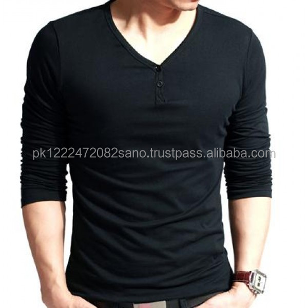 New Fashion V Neck Black men long sleeve slim stylish Casual Shirt