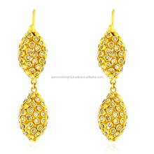 18kt Gold Diamond Designer Dangle Earring Indian Ethnic Jewelry Wholesale Supplier