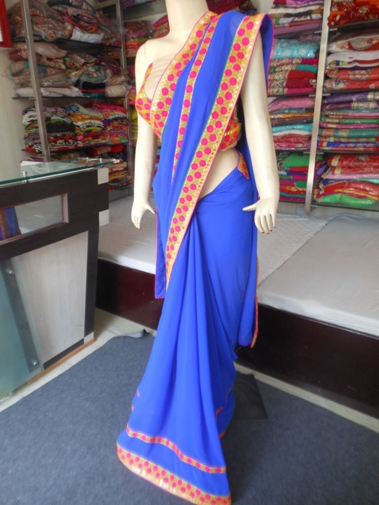 Indian Designer Blue Georgette Plain Embroidered Resham with Mirror Work Border Saree