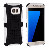 Tough Stand Hard Case for Samsung Galaxy S7 Edge White and Black