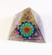 Amethyst orgone pyramid with charge crystal point with flower of life orgone healing pyramids