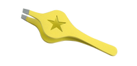 2016 Stainless Steel Slanted Tip Wide Grip Star Shaped Yellow Colour Eyebrow Tweezer et19