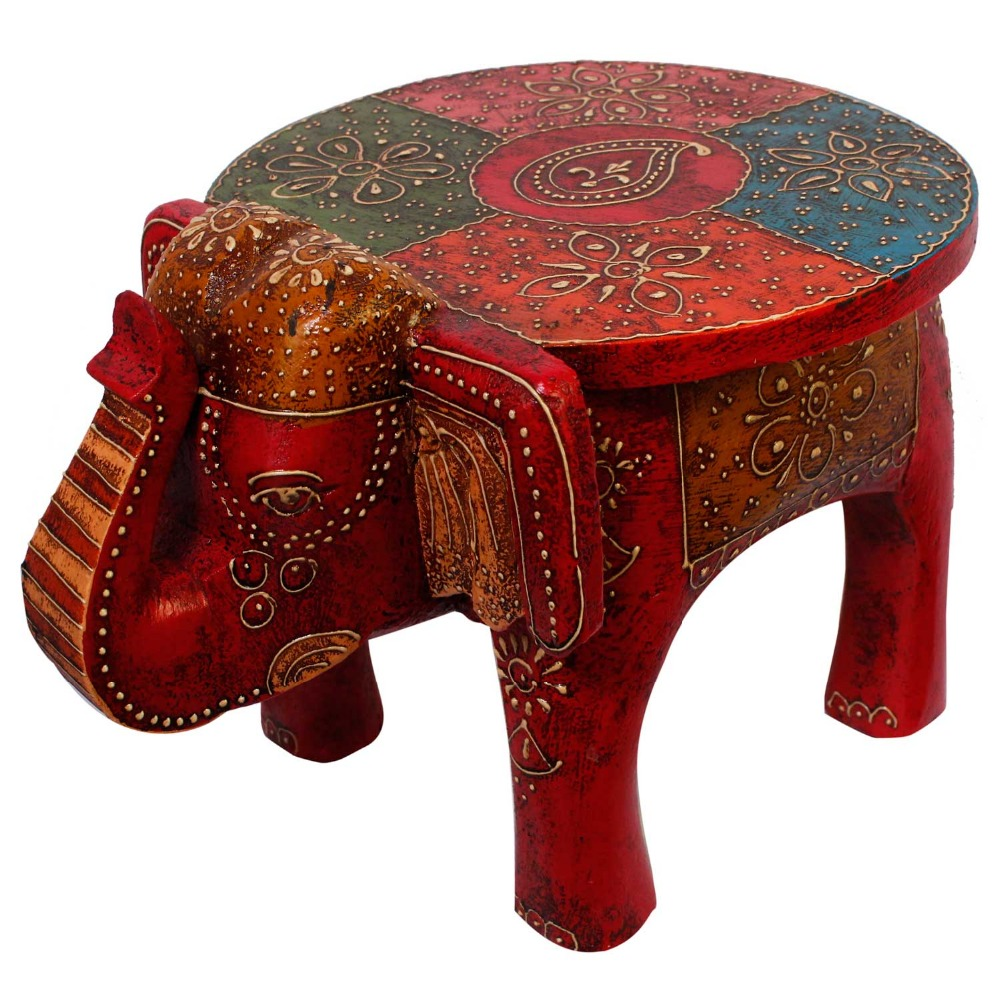 Adorable Rajasthani Designer Handicraft Durable Wooden Elephant Stool