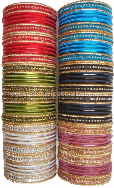 Metal wholesale Rhinestone lacquer bangles - Indian fancy metal bangles