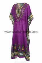 Polyester Printed Farasha Arabic Kaftan Dress Long Dresses