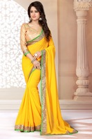 Astounding Yellow Colored Border Worked Faux Georgette Saree TSNF4009