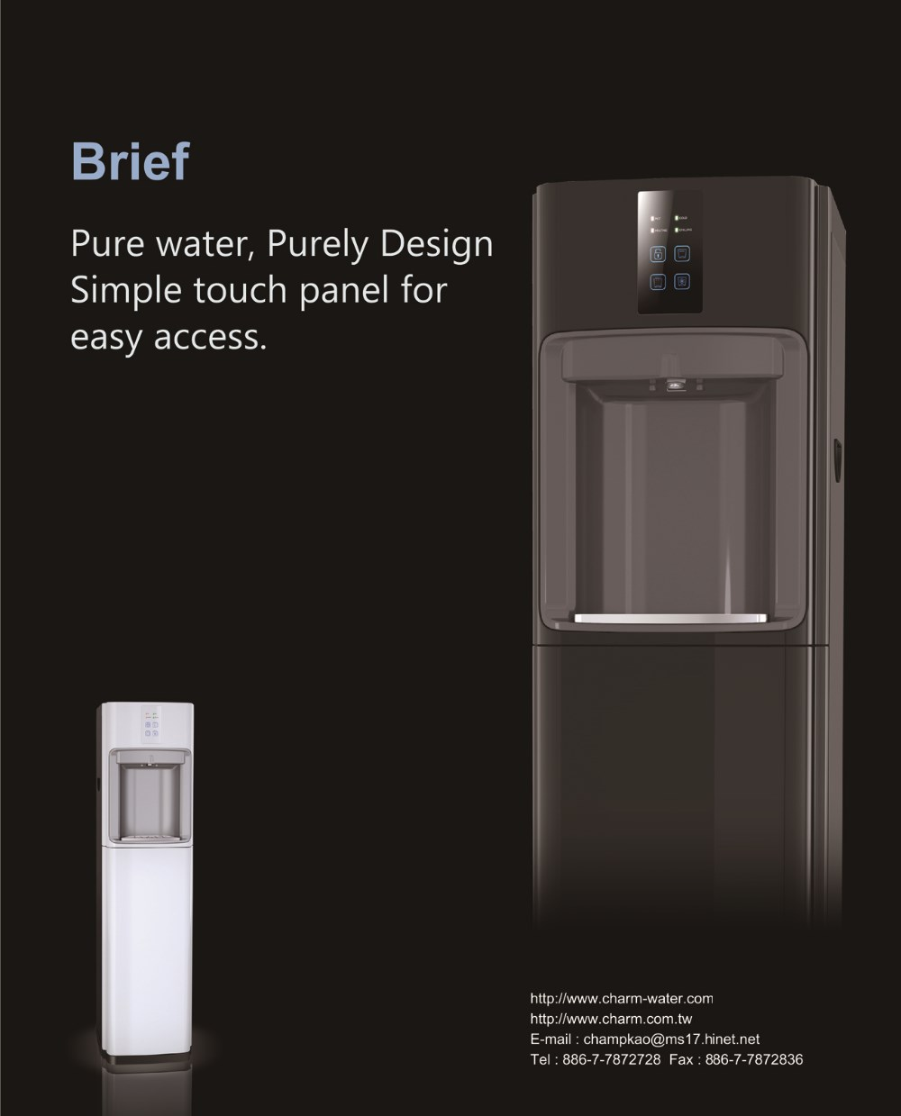 Cold Hot Free standing Purely Design water dispenser Simple touch panel