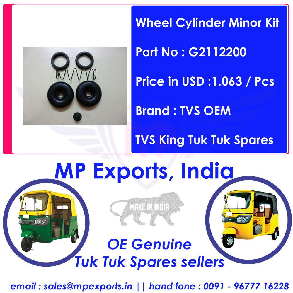 Tvs King Tuk tuk Spares Wheel Cylinder Minor Kit