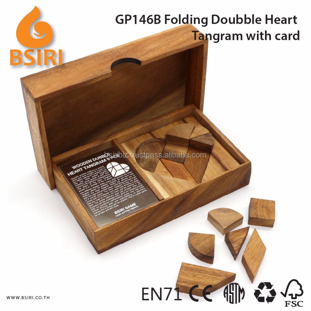 Wooden Heart Tangram Puzzle Kids Toys with Card