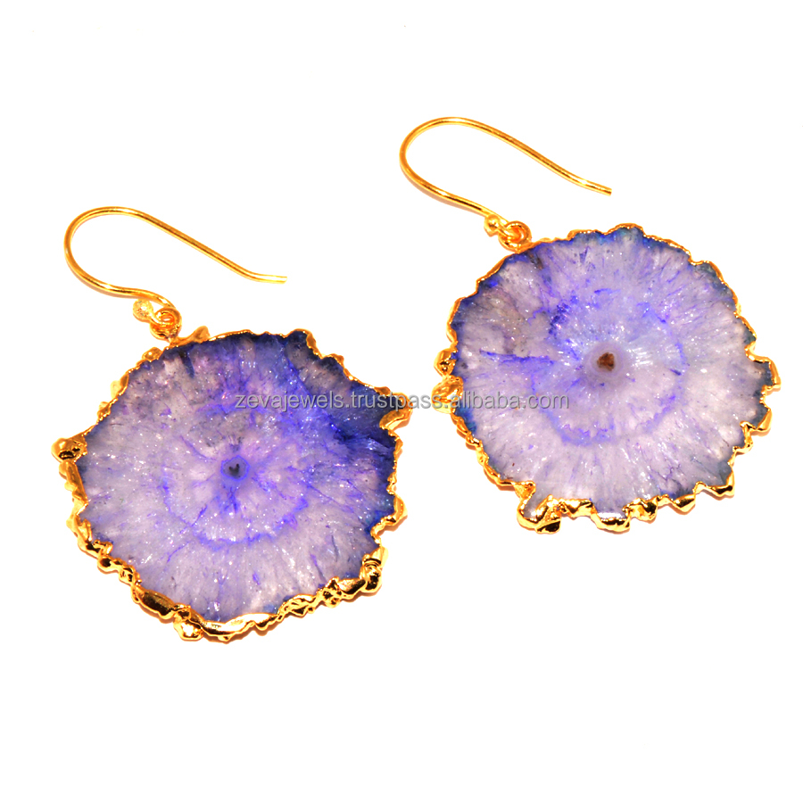 Zeva Unique Royal Blue Druzy Stone Electroforming Danglers Earring Boho Fashion Design Jewelry, Wholesale Supplier Low Price