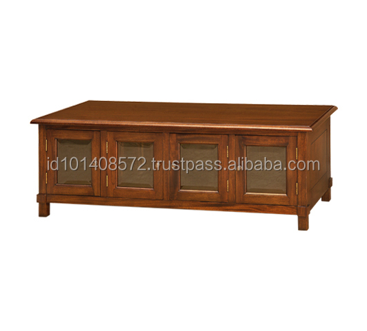 German Style Mahogany Carved Coffee Table With Cabinet, Center Table Living Room Furniture.