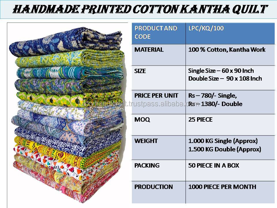 Super Fine Kantha Design Vintage/Second Hand Quilts/Vintage Kantha Quilt Recycled Sari Blanket/100-Percent Cotton (10 Pcs. Set)