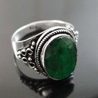 Real 925 Silver Plated Jewelry Emerald Stone Ring Bollywood Fashion Jewelry Size 8.5 SR6038B