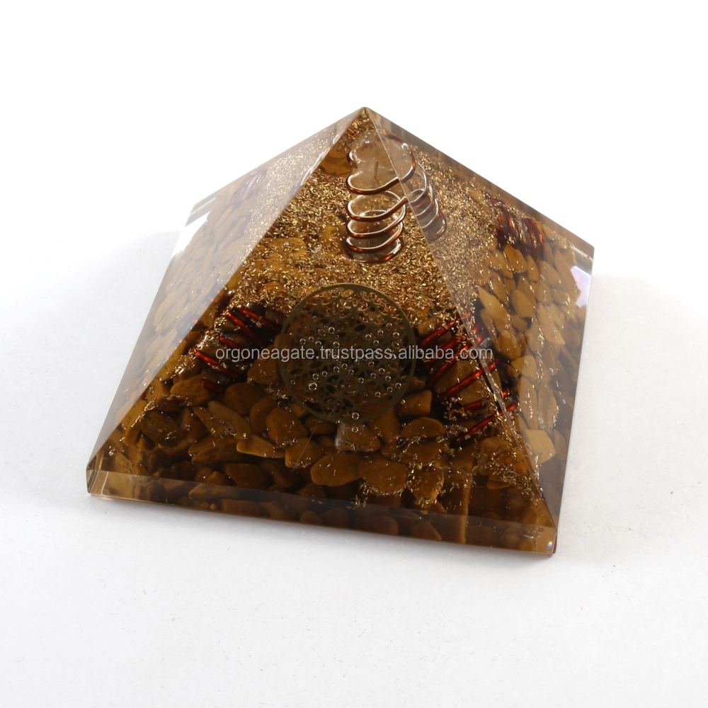 Orgone Pyramid Wholesale : Yellow Aventurine Orgonit Pyramid With 4 Copper Spring & Metal Flower Of Life