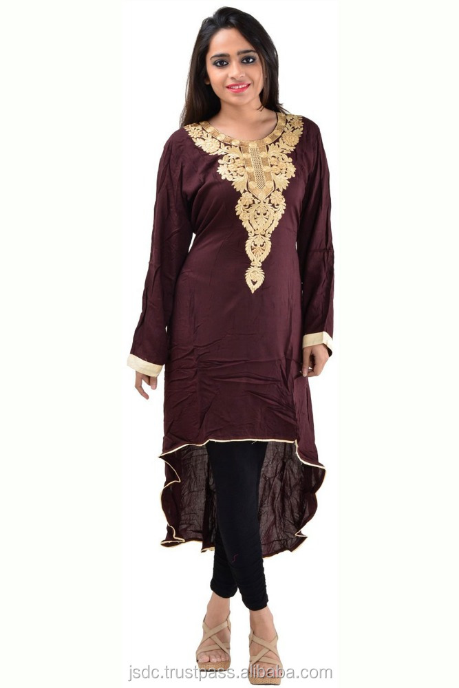 Divine Fancy Embroidery Work Long Cotton Kurti