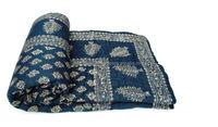 vintage Blue block printed sanganeri floral patch work kantha quilt