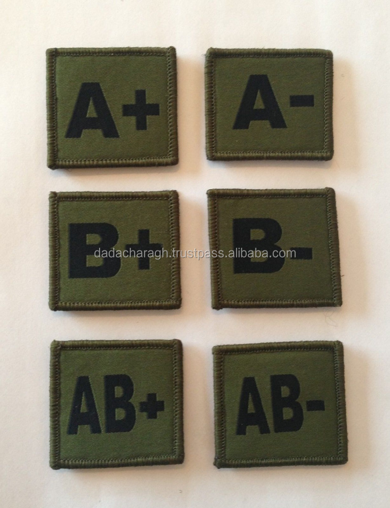WOVEN BADGES GREEN BLOOD GROUP BADGES WITH VELCRO, PATCHES, A+, A-, B+, B-, AB+, AB-