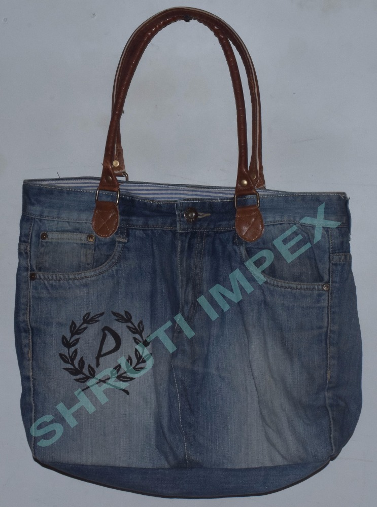 TRENDY LOOK JEANS TOTE BAG 100% COTTON INDIAN HANDMADE BEG & LEATHER HANDLE BAG SICB-607G
