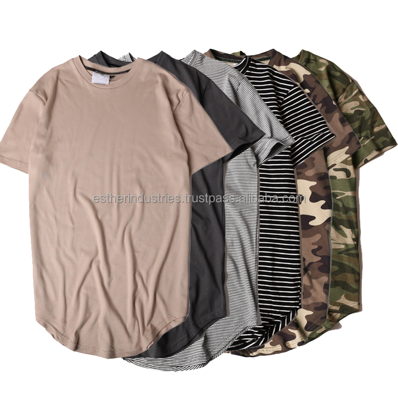 Hip Hop Tee Men's Hi-street Wear Long Sleeves Camo T Shirts/Hi street Solid T-shirt/Men Longline Extended Camouflage hip hop tee
