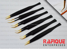 2017 Latest Design of Black Mamba Golden Points Eyelash Tweezers from Rafique