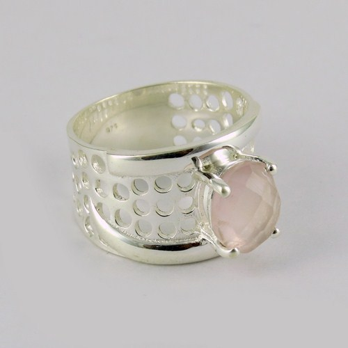 Top Grade Rose Quartz Ring 925 Solid Sterling Silver Gemstone Jewelry India