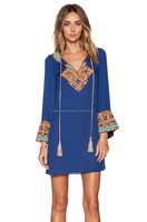 BLUE COTTON TUNIC WITH TASSELS AND EMBROIDERY AT NECK & SLEEVES BOTTOM
