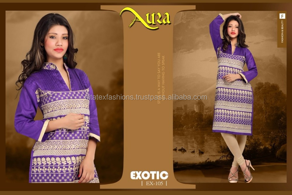 New Design Camric Cotton Designer Embroidery Kurtis