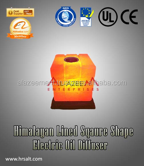 Lined Cube Shape Himalayan Aroma Therapy Lamp /Himalayan lined Cube Design Electric Oil Diffuser